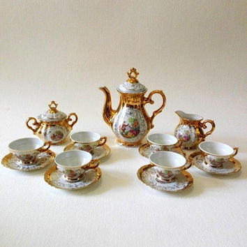 Gilded Italian coffee set, fine porcelain, made in Italy, tea set, tea cups, coffee cups, italian gifts, vintage porcelain, set of cups, cup
