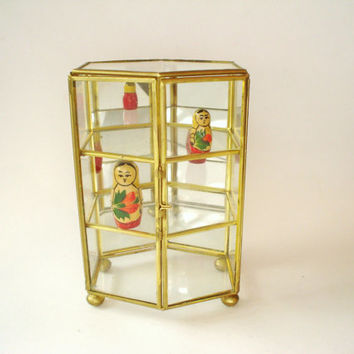 Brass Glass Mirror Hexagon Vintage Display Case 3 Shelves