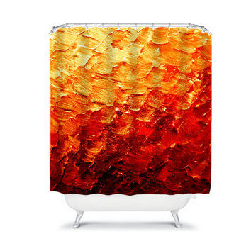 MERMAID SCALES 2 Deep Red Rust Orange Yellow Fine Art Painting Shower Curtain Washable Home Decor Colorful Ombre Ocean Waves Modern Bathroom