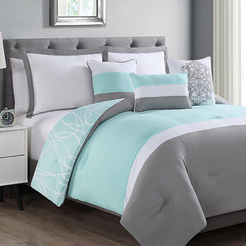 S.L. Home Fashions Mint & Gray Laurie Six-Piece Comforter Set