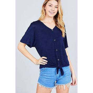 Short Dolman Sleeve V-neck W/button Detail Front Tie Rayon Spandex Cardigan ()