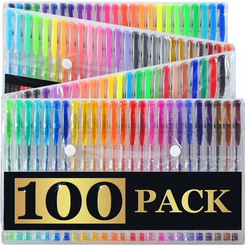 100 Ultimate Gel Pen Set For Adult Coloring Books & More