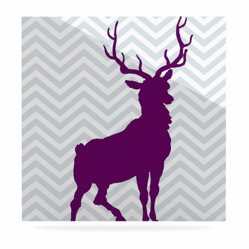 "Suzanne Carter ""Chevron Deer"" Purple  Luxe Square Panel"