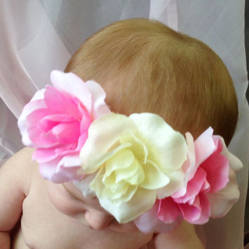 Baby Flower Halo - Boho Flower Headband - Flower Crown - Flower Headband - Flower Girl - Hippy Headband -Rose Flower - White Flower Crown
