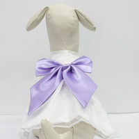 White Dog Dress, Lavender Bow, Dog Birthday gift, Pet wedding accessory, dog clothing, Chic, classy, Lavender and White dress