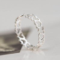 """Hollow Hearts"" 925 Sterling Silver Adjustable Ring"