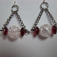 Crackle Bead Dangle Drop Earring