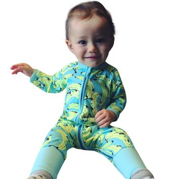 Baby Rompers kids Long Sleeve Tiny Cotton one-pieces Jumpsuit Baby Boy girls Summer Clothing Newborn cute Funny banana Onesuit