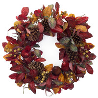 Falling Leaves Collection Foliage/Pear/Cone Wreath