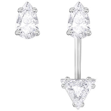 Swarovski | Attract Triangle Pierced Earrings with Jacket, White, Rhodium Plating