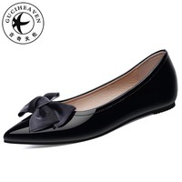 Guciheaven Women Shallow Casaul Flats Pointed Toe Slip-On Shoes Butterfly-knot Mirror Surface Patent Leather Black 2018 Dress