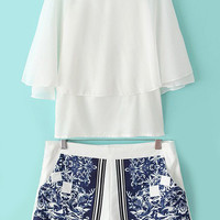 White Batwing Split Sleeve Top With Tribal Print Shorts -SheIn(Sheinside)