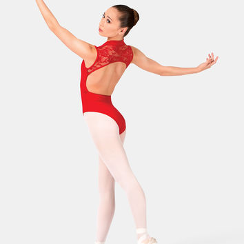 Free Shipping - Zipper Front Tank Leotard With Lace Back by BAL TOGS