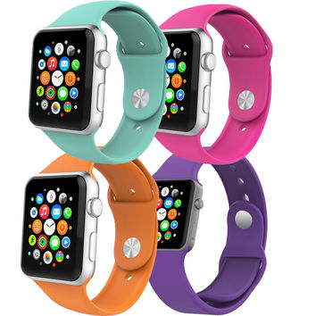 26 Colors Replacement Silicone Strap Multi-color Sport Silicone Watchband Silicone Watch Band for Apple Watch AW2SS