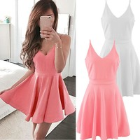 Fashion New Arrivals Boho Womens Summer Mini Dress Ladies Strappy Holiday Beach Party Skater Sundress V-neck Ball Gown Dresses