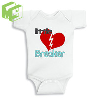 Little Heart Breaker baby baby White Onesuit for 0-12M Newborn baby outfit Girl/Boy white romper New Mom/Dad