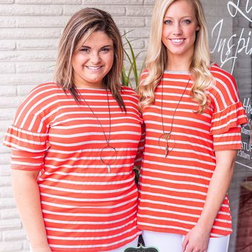 Orange & Gray Flutter Sleeve Striped Top