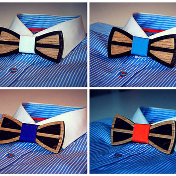 Double wooden bow tie.  Black & White backdrop  + 9 colors to choose. Unique gift