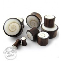 Spiral Sea Shell Inlay Wood Plugs (6 Gauge - 1 Inch) | UrbanBodyJewelry.com