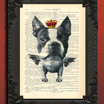 boston terrier with wings, flying dog on book page, dog art, bull terrier king, dog with crown, geekery print, dog artwork, dog art print