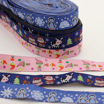 3 Design 30 Yards Cartoon Style Jacquard Webbing Zakka Sewing Label Santa Claus Cows Penguins Ribbon Sewing Tape Ribbons For DIY