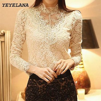 YEYELA Women Blouses Shirts 2018 New Spring Crochet Lace Chiffon Blouse Shirt Vintage Blusas Femininas Shirt Women Clothing A010