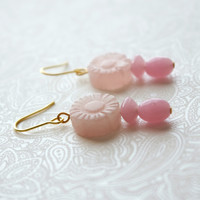 Carved Flower Beads, Rose Quartz, With Pink Quartz Accent