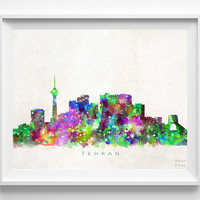 Tehran Skyline Print, Iran Print, Tehran Poster, Iran Cityscape, Watercolor Art, Home Decor, Giclee Art, Room Art, Christmas Gift