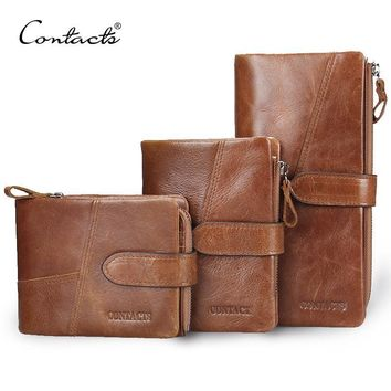 CONTACT'S Retro luxury Genuine Leather Women Men Wallets High Quality Brand Design Zipper Wallet Womens Purses For Card Holder
