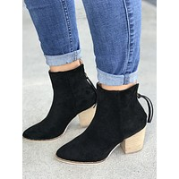 Lovely Black Suede Bootie