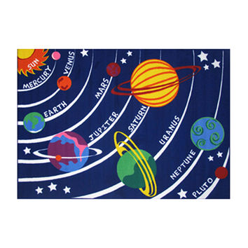 Fun Rugs Fun Time Collection Home Kids Room Decorative Floor Area Rug Solar System -5'3X7'6