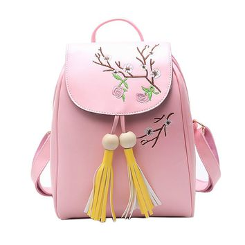 EnoPella Pu Leather Women new vintage casual Mini small leather travel bags women tassel School Backpacks Travel Back Pack