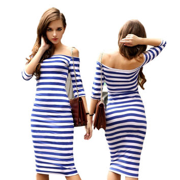 Sexy Women Stripes  Half Sleeve Knee Length  Casual Off the Shoulder Bodycon Pencil  Dress Push  Free Shipping LYQ57