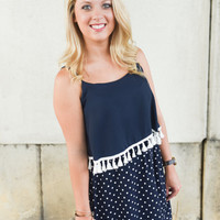 Game Day tassel dress  - Navy