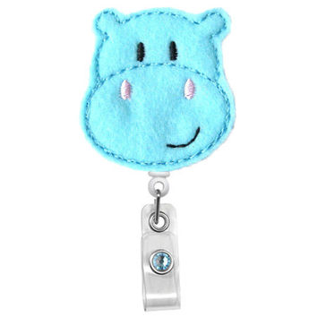 Cute Hippo - Badge Holder - Nurses Badge Holder - Cute Badge Reels - Unique ID Badge Holder - Felt Badge - RN Badge Reel