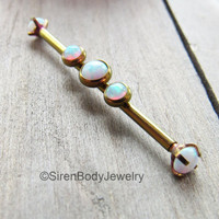 "Industrial piercing barbell 14g rose gold titanium anodized bar 1 1/4"" length white opals scaffold body 32mm jewelry straight barbell ring"