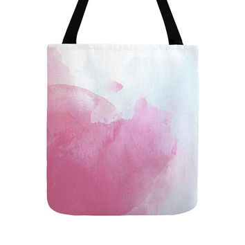 Watercolor Tote Bag, 4 Colors, Gradient Pattern, Pink Bags, Abstract Painting, Bohemian Soft Gift, Beautiful Totes, Small, Medium, Large
