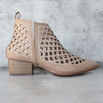 Vegan Leather Cutout Booties   More Colors
