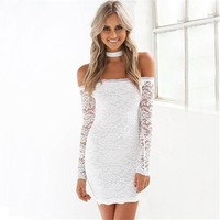 Long Sleeve Hollow Lace Strapless Low Cut Dress With Bib