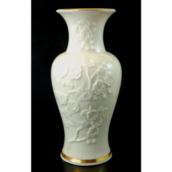 Vintage Lenox Porcelain Giftware 6 1/4 Inch Tall Vase - Embossed Flower Blossoms and Gold Trim - Made in USA