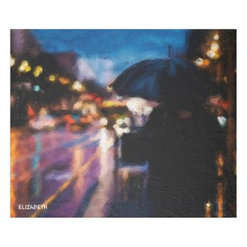 Lady With Umbrella In Rainy Night Moody Drawing Fleece Blanket