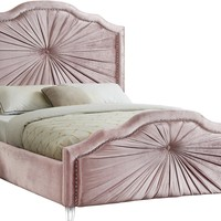 Rosie Pink Velvet King Bed