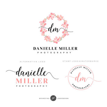 Handwritten flower wreath logo, Premade Branding Kit Photography logo, Watermark, Logo Design, Branding kit, Watercolor logo Photographer 30
