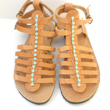 Ancient Greek leather sandals, Gladiator sandals, Spartan sandals, Genuine leather sandals,Women summer flats,Beach shoes