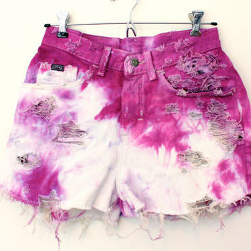 High Waisted Fuchsia Dyed Shorts