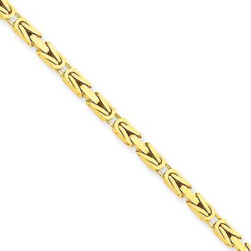 2.5mm, 14k Yellow Gold, Solid Byzantine Chain Necklace, 18 Inch