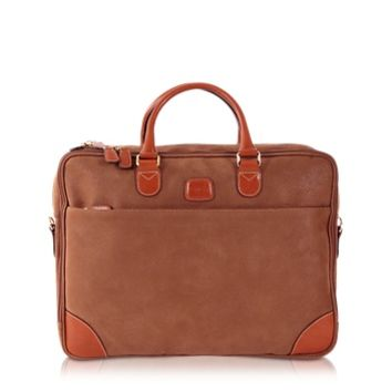 Bric's Designer Briefcases Life Micro Suede Camel Double-Gusset Soft Briefcase