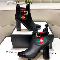 "GUCCI 2020 latest Trending Women ""Monogram Empriente"" Leather Zipper lace up Ankle Short Boots Flats High Heels Shoes Winter Autumn black"
