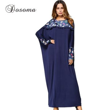Casual Maxi Dress Print Muslim Abaya Batwing Sleeve Jilbab Patchwork Long Robes Loose Style Middle East Ramadan Islamic Clothing