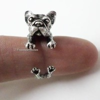 French Bulldog Dog Wrap Around Adjustable Ring Antique Silver Frenchie Collector